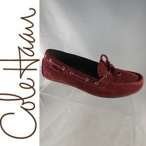 Cole Haan Maroon Boat Rope Soft Suede Slip On 8